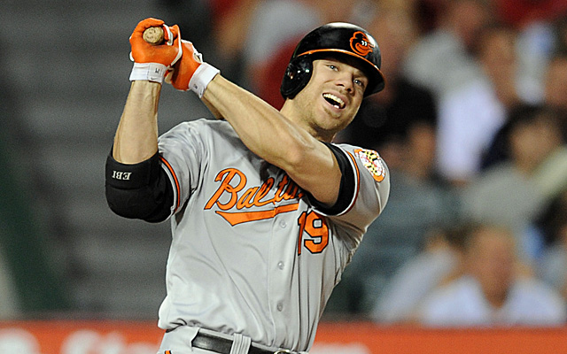 May 2, 2013; Anaheim, CA, USA; Baltimore Orioles first baseman Chris Davis (19) reacts after swinging for a strike against the Los Angeles Angels during the eighth inning at Angel Stadium of Anaheim. Mandatory Credit: Kelvin Kuo-USA TODAY Sports